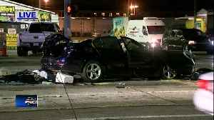 Driver extricated from car after crash on Hillsborough Ave. [Video]
