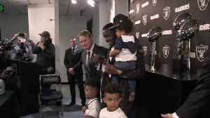 News video: Oakland Raiders wide receiver Antonio Brown brings up his kid at Raiders introductory press conference