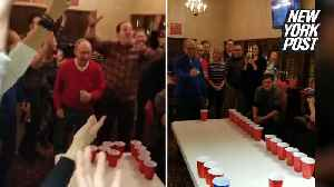 These 85-year-old twins destroy frat boys at their own game [Video]