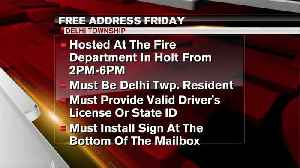 Free Address Friday at Delhi Township Fire Department [Video]