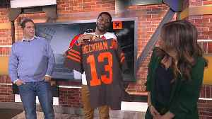Nate Burleson gets the first Cleveland Browns Odell Beckham Jr. jersey ever made on 'GMFB' [Video]