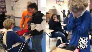Kind-hearted kid breaks down after classmates surprise him with a gift [Video]