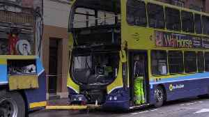 Dublin crash: Eight in hospital after tram and bus collide [Video]