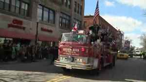 Vintage fire engine in South Boston St. Patrick's Day parade [Video]