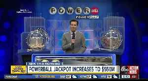 News video: Powerball lottery drawing for March 16, 2019: No winning tickets sold; jackpot now $550 million