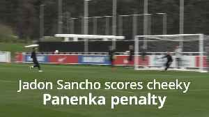 Jadon Sancho scores cheeky Panenka penalty in England training [Video]