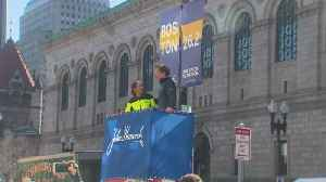 Web Extra: 2019 Boston Marathon Banner Raised On Boylston Street [Video]