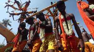 Hindu devotees display their devotion by piercing skin with metal hooks and hanging from crane [Video]