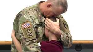 Tears of joy: Military dad surprises son [Video]