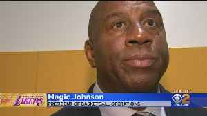 Magic And The Lakers Help A School And The Legend Is Moved To Tears [Video]