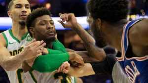 Marcus Smart Ejected For PUSHING Joel Embiid after Embiid's PETTY IG Feud With Terry Rozier! [Video]