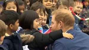 Prince Harry Hangs With Schoolchildren and a Puppy [Video]