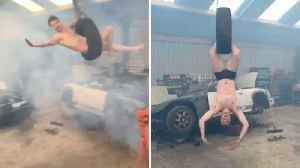 Half-naked Man Performs Wrecking Ball While On Swinging Tyre [Video]