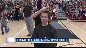 Asst. Principal Tracy Newell of Sawtooth Middle goes bald for childhood cancer wigs [Video]
