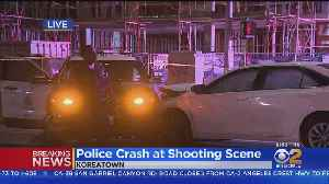 Car Crashes Into LAPD Squad Car At Koreatown Shooting Scene [Video]