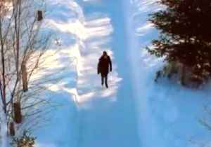 Couple Skate Along Magical Quebec Forest Path [Video]