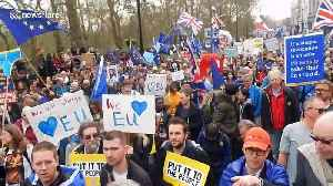 Supporters for a People's Vote mount scaffolding and hold EU flag aloft [Video]