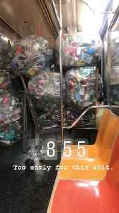 Subway train filled with dozens of bags and shopping cart full of aluminum soda cans [Video]