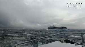 Passengers airlifted from cruise ship stranded off Norway - UGC [Video]