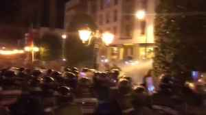 Moroccan police use water cannon to disperse protest [Video]
