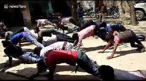 Indian bikers forced to do push-ups as punishment for breaking traffic rules [Video]