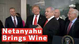 Netanyahu Jokes With Trump About Investigations While Gifting Staff With A Case Of Wine [Video]