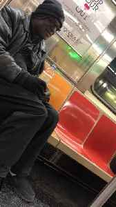 Man tries to hit on woman on subway train and she quickly gets out on her stop [Video]