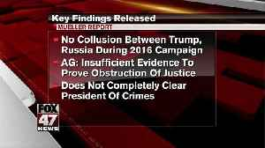 News video: Mueller did not find Trump or his campaign conspired with Russia, also did not exonerate him on obstruction