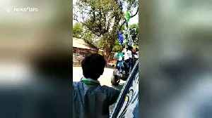 Men drink beer on tractor while canvasing for prohibition candidate in India [Video]