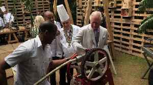 Prince Charles squeezes sugar cane in Cuba [Video]