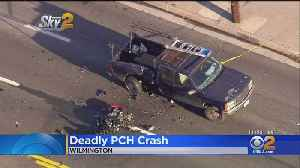 Motorcyclist Dies After Slamming Into Pickup Truck [Video]