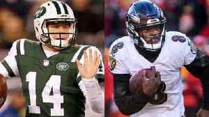 New York Jets quarterback Sam Darnold vs. Baltimore Ravens quarterback Lamar Jackson: Whose stakes are higher going into their s [Video]