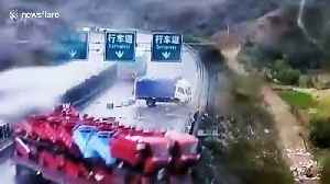 Massive pile-up after truck loses control on slippery Chinese motorway [Video]