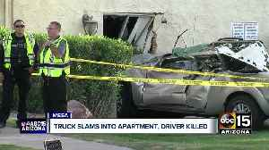 Truck slams into apartment, driver killed [Video]