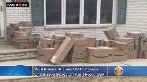 Wife Pranks Husband With Dozens Of Amazon Boxes On April Fools' Day [Video]