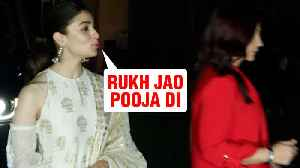 Step Sister Pooja Bhatt REFUSES To Pose With Alia Bhatt | No Fathers In Kashmir Screening [Video]