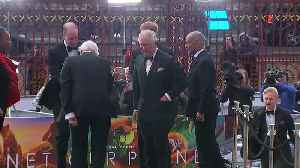 Princes Charles, William and Harry attend film premiere [Video]