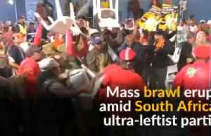 Scuffles break out amid supporters of South Africa's left-wing parties [Video]