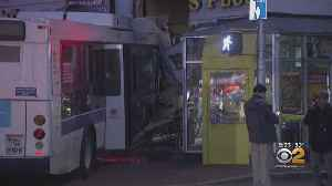 MTA Bus Crashes Into 2 Businesses [Video]