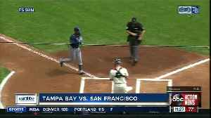 Tampa Bay Rays reliever Adam Kolarek plays first base in 3-0 win over San Francisco Giants [Video]