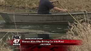 Driver alive after driving into pond in Jackson [Video]