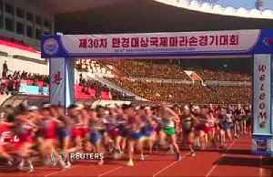 Hundreds of foreigners race Pyongyang marathon [Video]