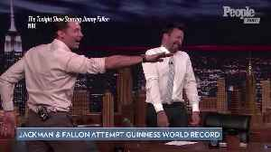 Hugh Jackman and Jimmy Fallon Hilariously Attempt New Guinness World Record on The Tonight Show [Video]