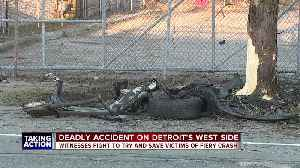 Witnesses fight to try and save victims of fiery crash on Detroit's west side [Video]