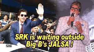 SRK is waiting outside Big B's JALSA for success party of 'BADLA' ! [Video]