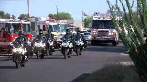 Fire crews, police escort daughter of late firefighter to school [Video]