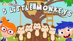 Five Little Monkeys Jumping on the Bed | Super Simple Songs | Nursery Rhymes for Children [Video]