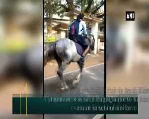 Kerala school girl rides horse en route to class 10th board exam video goes viral [Video]
