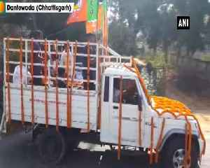Mortal remains of BJP MLA Bhima Mandavi brought to party office [Video]