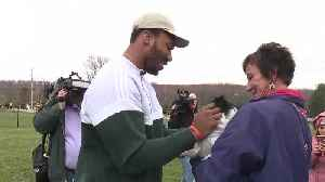 Myles Garrett speaks to the media at his puppy play date [Video]